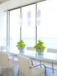 aluminum-dining-table-with-yellow-flower-centerpieces-with-white-interior-decoration-ideas-glass-window-and-pendant-lamp